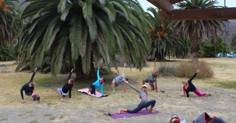 Post-Hike stretch on Catalina with Outdoor Discovery School